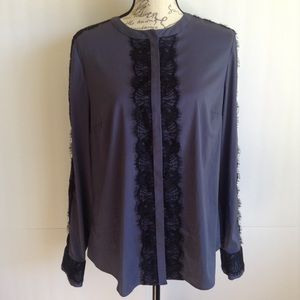 Ann Taylor BlueandBlack Lace Long Sleeve Button Up